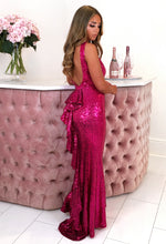 Pink Sequin Fishtail Dress