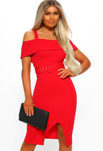 Red Belted Bardot Midi Dress