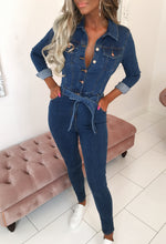 Blue Long Sleeve Denim Jumpsuit