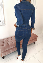Long Sleeve Denim Jumpsuit - Back View