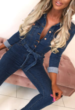 Mid Blue Denim Jumpsuit - Selfie Image