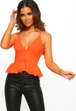 Brighter Than Bright Neon Orange Peplum Cropped Cami Top