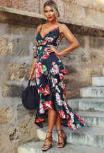 Bring The Heat Black Floral Frill Wrap Maxi Dress