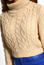 Roll Neck Cable Knit Jumper - Detail View