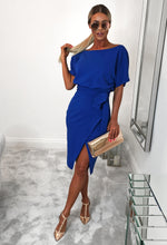 Cobalt Blue Belted Wrap Front Midi Dress - Front with Background