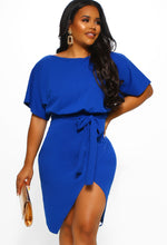 Came Here For Love Cobalt Blue Belted Wrap Front Midi Dress