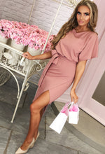 Came Here For Love Rose Pink Belted Wrap Front Midi Dress