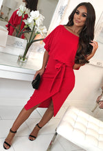 Red Belted Wrap Front Midi Dress - Front with Background
