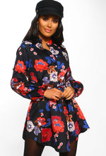 Black Floral Tie Waist Shirt Dress - Front