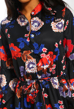 Black Floral Tie Waist Shirt Dress - Detail