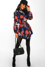 Black Floral Tie Waist Shirt Dress - Front with accessory