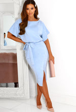 Blue Suede Midi Dress