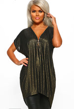 Black Metallic Zip Front Tunic Top