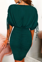 Batwing Sleeve Green Ruched Mini Dress