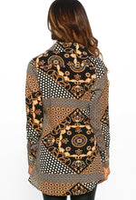 Black Multi Print Wrap Top - Back View