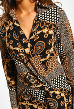 Black Multi Print Wrap Top - Close Up View