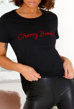 Black Slogan Diamante T-Shirt