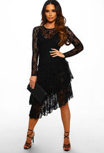Black Lace Sheer Ruffle Midi Dress
