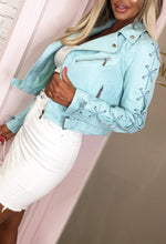 City Of Love Baby Blue Lace Up Biker Jacket