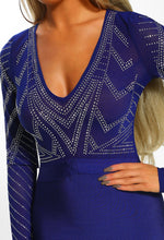 Cobalt Blue Bandage Mini Dress - Diamante Mesh Detail