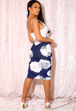 Navy Skirt with Flowers
