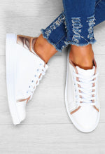 Rose Gold Metallic Trainers - Above View