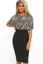 Black Leopard Print Batwing Midi Dress - Front