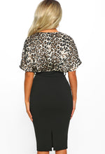Black Leopard Print Batwing Midi Dress - Back