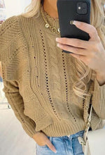 Cute In Crochet Taupe Crochet Knitted Frill Jumper