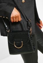 Gold Detail Black Hand Bag - Side View
