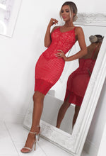 Red Lace Bodycon Midi Dress - Front with Background