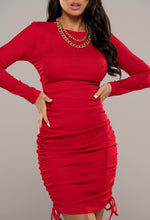 Ruched Red Mini Dress