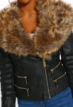 Faux Fur Collar Jacket - Detail View