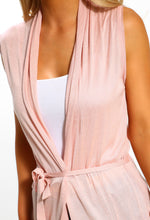 Pink Sleeveless Longline Cardigan