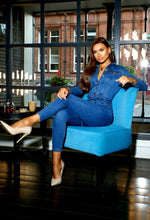 Blue Long Sleeved Denim Jumpsuit
