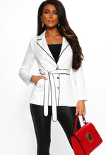 White Contrast Trim Blazer Outfit - Front View