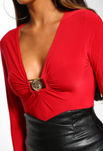 Gold Buckle Detail Slinky Red Top