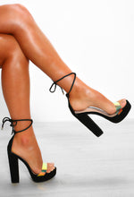 Black Lace Up Block Heels - Side View