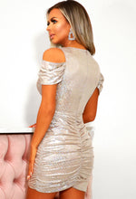 Disco Dream Silver Metallic Ruched Mini Dress