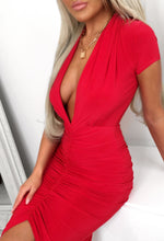 Red Plunge Ruched Midi Dress