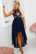 Navy Dip Hem Maxi Dress