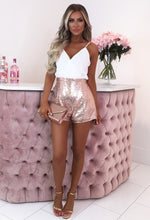 Easy Does It White And Rose Gold Sequin Wrap Front Playsuit
