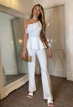 Eye Catcher White One Shoulder Peplum Jumpsuit