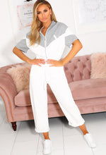 White and Grey Jersey Jumpsuit