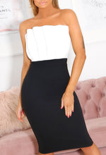 Monochrome Strapless Midi Dress