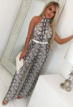 Snake Print Halterneck Wide Leg Jumpsuit- Front with Background