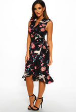 Black Floral Wrap Midi Dress Outfit - Full Length View