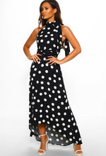 Monochrome Polka Dot Maxi Dress - Full Length View