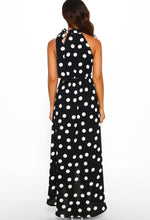 Monochrome Polka Dot Maxi Dress - Back View