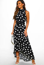 Halterneck Polka Dot Maxi Dress - Full Length View